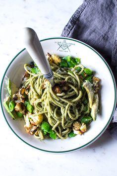 Flourishing Foodie: Roasted Cauliflower, Snap Pea, and Avocado Pasta with a Walnut Basil Pesto