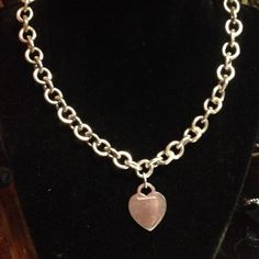 Tiffany & Co chain link necklace with Heart 16 inch chain. Beautiful gift for someone special.  Comes with dust bag and box. Tiffany & Co. Jewelry Necklaces