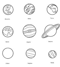 Planet Coloring Pages Collection. There are various ways to introduce the planet and solar system to your child. One of them is to use planets and solar system Planet Coloring Pages, Cat Coloring Page, Animal Coloring Pages, Coloring Pages For Kids, Solar System Planets, Our Solar System, Planets With Moons, Tattoo Planeta, Solar System Coloring Pages