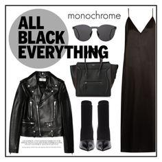 """all black"" by madedinorog ❤ liked on Polyvore featuring CÉLINE, Raey, Illesteva, Yves Saint Laurent and Balenciaga"