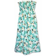 Breezy Green Maxi Hawaiian Dress ($49) ❤ liked on Polyvore featuring dresses, floral print maxi dress, hawaiian floral dress, floral dresses, smocked maxi dress and floral print dress