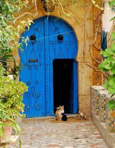 blue door within a door