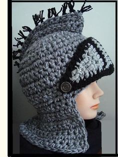 Knight Helmet Hat CROCHET PATTERN by HatAndScarfPatterns on Etsy