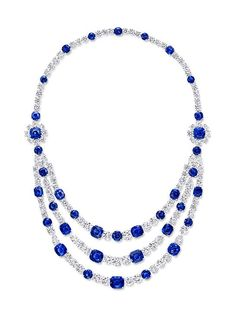 Sapphire and diamond necklace (diamonds totaling 78.98 carats, sapphires…