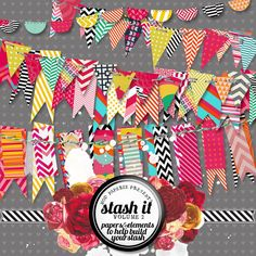 Stash Builder 4 Bright and Colorful Pennant Banners by ModPaperie, $4.00