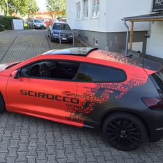 Volkswagen Scirocco Belettering on stellar Scirocco. Car Stickers, Car Decals, Scirocco Volkswagen, Vehicle Signage, Vw Cars, Car Tuning, Car Painting, Modified Cars, Car Wrap