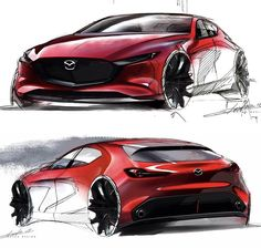 official sketches by Takuya Obatake Mazda 3, Mazda Mazda3, Car Design Sketch, Car Sketch, Design Autos, Beast, Industrial Design Sketch, Car Drawings, Love Car