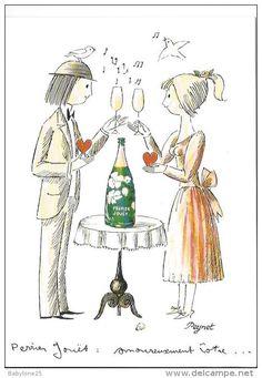 Perrier-Jouët Champagne Belle Epoque - Les Amants de Peynet ~ Pinned by Nathalie Gobbe