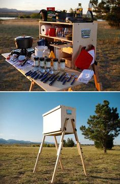 Outdoorsman Camp Kitchen - a full-fledged camp kitchen designed to fit a ridicul.,Outdoorsman Camp Kitchen - a full-fledged camp kitchen designed to fit a ridiculous amount of cooking gear in a systemic manner for the ultimate campe. Camping And Hiking, Camping Survival, Camping Hacks, Camping Chuck Box, Camping Glamping, Camping Life, Family Camping, Camping Gear, Camping Kitchen