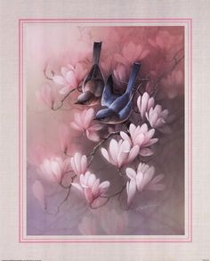 Birds with Blossoms, Art Print by T.C. Chiu