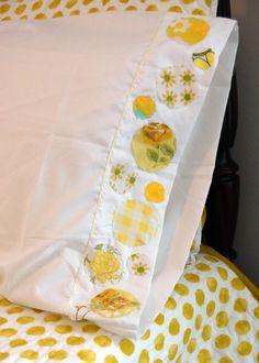 Simply Dots Vintage Yellow Fabric Appliqued Pillowcase. $12.00, via Etsy.