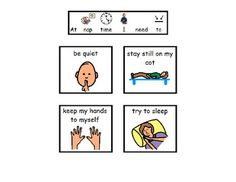 These visual rules provide clear expectations for naptime. Set the children up for sucess by letting them know what you expect from them at this time. Read this mini social story to teach naptime expectations to children with Autism Spectrum Disorders or other communication difficulties by reviewing daily.