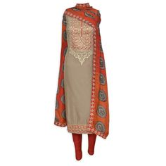 Elegant mouse brown semi stitched suit adorn in zari work-Mohan's the chic window