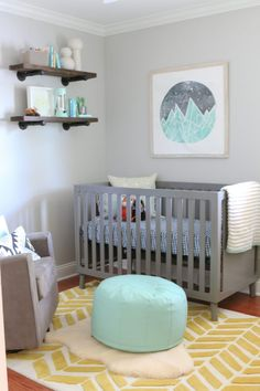 "Gray modern nursery is themed ""happy camper"" with aqua and yellow pops of color!"