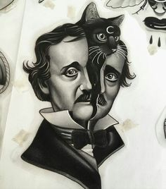"""Edgar Allan Poe Cat"" the cat can do without the moon though"