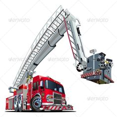 Vector Cartoon Fire Truck #GraphicRiver Vector Cartoon Fire Truck. Available…
