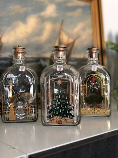 Excited to share this item from my shop: Set of 3 Holmegaard Christmas snaps decanter bottles Danish hand painted Shipping Date, Dyi Crafts, Christmas Scenes, Christmas Countdown, Danish Design, Decanter, Scandinavian Design, Whiskey Bottle, Bottles