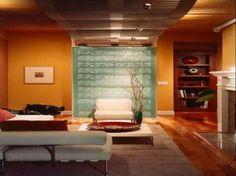 wohnzimmer modern gestalten - gelbe wandfarbe - wohnzimmer
