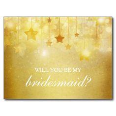 Shining Gold Stars Will You Be My Bridesmaid