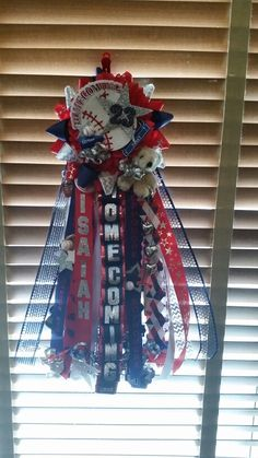 Homecoming mum, baseball garder, baseball mum, red, white and navy mum