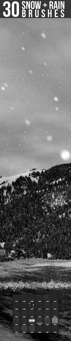 Snow & Rain Brushes Photoshop #ps #brushes Download: http://graphicriver.net/item/snow-rain-brushes/7103766?ref=ksioks