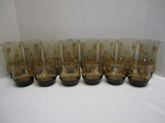 Corell Gold Butterfly 14 Piece Set Tumblers Vintage Juice Glasses Drinking Glass
