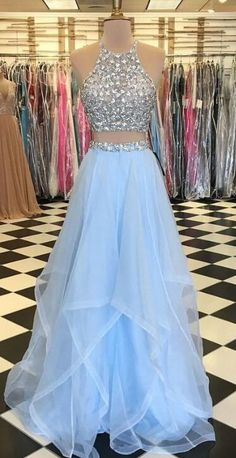Two Pieces Long Prom Dresses With Beading Fashion School Dance Dress Winter Formal Dress - School dance dresses - Prom Dresses Two Piece, Cute Prom Dresses, Grad Dresses, Trendy Dresses, Prom Two Piece, Cute Dresses For Teens, Dresses Dresses, Party Dresses, Style École