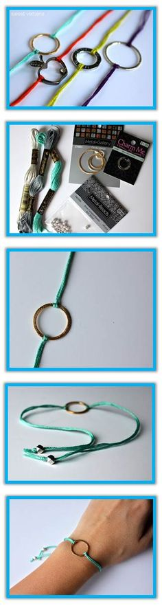 "Hollow Charm  Bracelet or Choker:  Embroidery Floss; Beads (opt); Hollow Charms: Tutorial: Cut 2 18"" lengths thread. P"" middle one thread+pull it through charm. take ends string+pull it through loop. Pull tight+repeat. Cut+tie off ends with bead."
