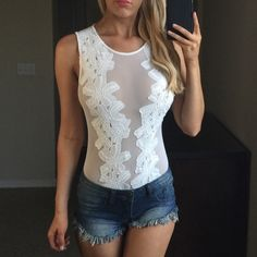 -White Floral Mesh Bodysuit- Beautiful White Floral Mesh Bodysuit. Shorts Available in a Separate Listing:) Fiber Content: Nylon and Polyester My Measurements are 34-24-35 I am wearing a Medium❤️ Price is FIRM unless bundled, no trades!  Not from listed brand, Boutique brand, New with tags! Nasty Gal Tops