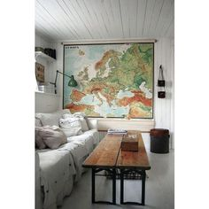 Interior inspo: travel maps for on the wall - CHAPTER FRIDAY found on Polyvore