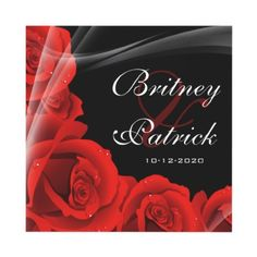 Whimsical Black & Red Rose Wedding Invitations by natureprints