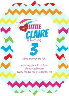 Chevron Rainbow Kids Party Invitation by PurpleTrail.com. #rainbowbirthdayinvitations #rainbowinvitations #kidsbirthdayinvitations #mylittleponypartyideas #carebearpartyideas