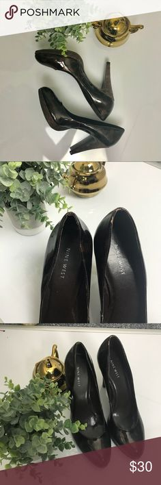 """Nine West Leopard Print Patent Leather Pumps Size 10 Nine West leopard print patent leather pumps. Great condition with some minor flaws (pictured). Approximate 4.5"""" heel. Nine West Shoes Heels"""