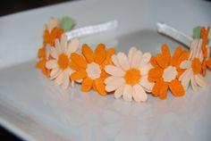 Orange and Pale Peach Daisy Wool Felt Flowers by lilibirdbowtique, $16.99