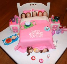 If Kyrie was to have a pj party im not sure if id do a pj party cake or not.. Probably just let her choose her themed cake like usual but this is a pretty cool Pj party cake idea