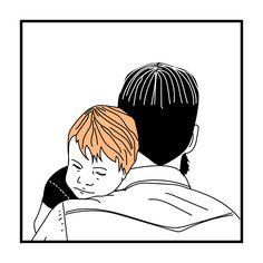 Tuto guagua… Desde adolescente que me dí cuenta de la ternura que me causan los papis con sus bebés, diría que hasta sexy lo encuentro #ilustraciondigital #bebe #papa #dad #artwork #sketch #lineart #dormir #niño #padre #child #boy #sleeping #father #baby #son #dibujo #art #illustrator #love