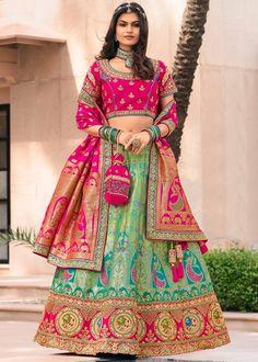 #green #woven #banarasi #silk #bridal #lehenga #choli #dupatta #designs # traditional #indian #outfits #gorgeous #wedding #look #ootd #new #arrival #womenswear #online #shopping Ghagra Choli, Lehenga Blouse, Silk Lehenga, Silk Dupatta, Saree, Lehenga Wedding, Party Wear Lehenga, Bridal Lehenga Choli, Salwar Kameez