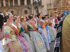 The traditional dress of Valencia at the Las Fallas Festival of Fire Festival in Spain. I love these dresses!