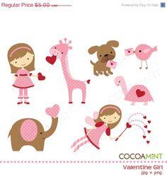 40% OFF SALE Valentine Girl Clip Art