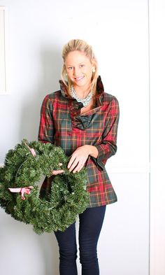The plaid ruffle blouse is our popular tunic fit with our best-selling updated dramatic collar.    Perfect for the holidays or to ring in the