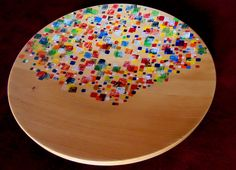Wooden plate decorated by acrylic paint
