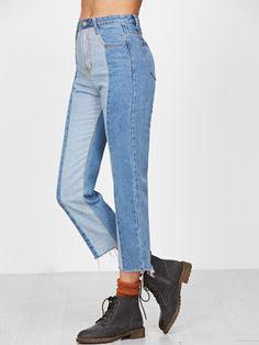 Blue Contrast Raw Hem Straight Jeans