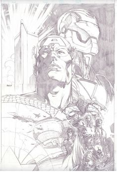 Sketch by David Finch.   Comic Art Work By David Finch
