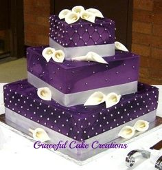 Elegant Square Purple Wedding Cake with White Calla Lilies