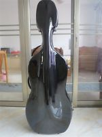 Great 4/4 black fiberglass cello hard case w/wheells