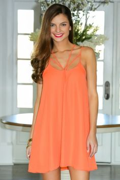 Life is better in color! Must have, tangerine dress! Spring perfection! Absolutely stunning! Do you want it? We think so! Repin!
