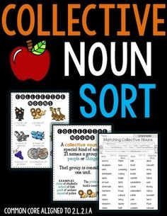 Collective Noun SortThis CHALLENGING collective noun sort will encourage your students to identify collective nouns to the noun it relates to. Great for homework, review and test prep.*******************************************************************Contents:* 3 posters* 6 sets of 12 pair words to match (match the noun to the collective noun)* Recording Sheets where students can choose to write down the collective noun phraseYou choose depending on the time allowed in class.* Answer Keys…