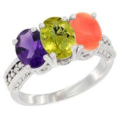 14K White Gold Natural Amethyst, Lemon Quartz and Coral Ring 3-Stone 7x5 mm Oval Diamond Accent, sizes 5 - 10 * Insider's special review you can't miss. Read more  : Ring Bands