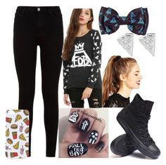 """L̃ãũr̃ẽñs̃ õũt̃f̃ĩt̃"" by sbfreshwater ❤ liked on Polyvore featuring 7 For All Mankind, ASOS, Converse, Topshop and Rock 'N Rose"