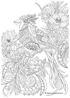 Coloring Page for Adults Bird by Egle Stripeikiene. Size - A3 ​Publisher: www.almalittera.lt